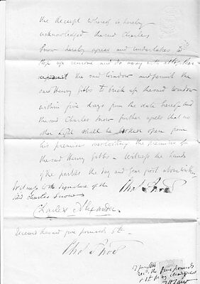 Signed and stamped document between pub & iron merchants dated 1866