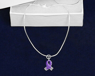 Lot of 12 Purple Ribbon Necklaces