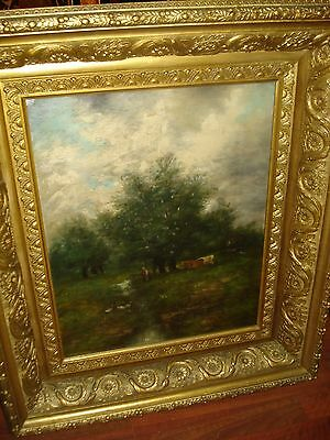 """19th Century Oil On Canvas, Unsigned """"Cows/Pasture With Threatening Skies"""""""