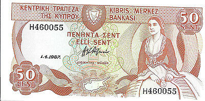 1987 Cyprus 50 Cent Note; *CU*;  Central Bank of Cyprus; P52