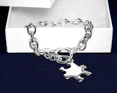 Lot of 12 Autism Puzzle Charm Bracelets