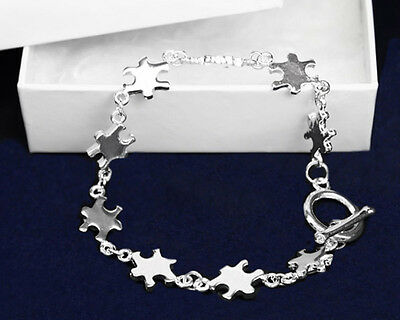 Lot of 12 Silver Linked Puzzle Piece Autism Bracelets
