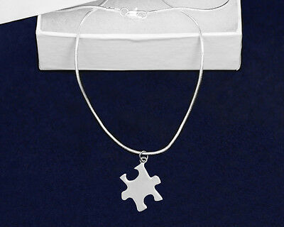 Lot of 12 Large Autism Puzzle Piece Necklaces