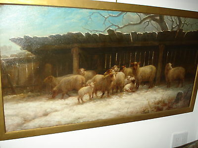"""Late 19th Century Oil On Canvas, """"Sheep"""", Unsigned, Wonderfully Executed Work"""