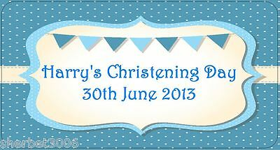 24 x Personalised Stickers Christening Baby Boy Blue Flags Medium Labels