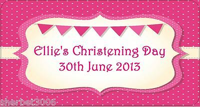 24 x Personalised Stickers Christening Baby Girl Pink Flags Medium Labels