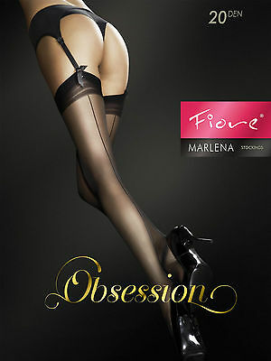 womens ladies stockings nylons back seam 20 denier Marlena by Fiore..Buy 3 Get 4
