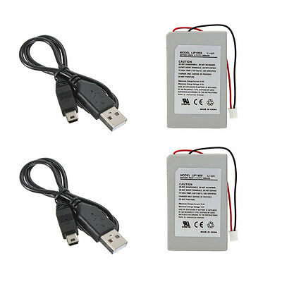 2Pcs Replacement Battery Pack For SONY PS3 SLIM Controller + 2xUSB Charger Cable