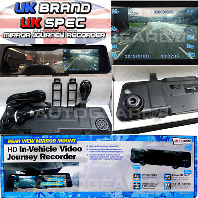 """Rear view Mirror Mount Camera in Car CCTV Driving Video HD 4.3"""" Journey Recorder"""
