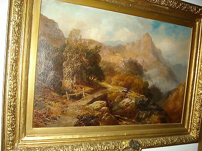 """Late 19th Century Oil/Canvas, Signet Rot, Swiss, """"Large Swiss Mountain Scene"""""""