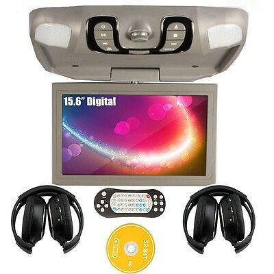 "Gray 15.6"" HD LCD Car Roof Mount DVD Player Stereo FM Game USB/SD IR Headphones"