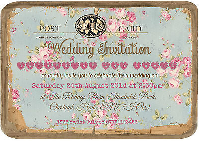 Personalised Vintage Tea Party Postcard Wedding Invitations Packs Of 10