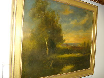 """19th Century Oil/Canvas, Unsigned, American, """"Cows In A Pasture """""""