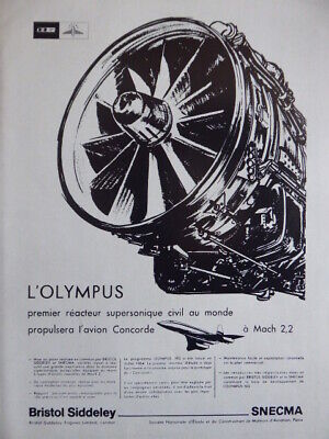 1966 Pub Snecma Bristol Olympus 593 Engine Supersonic Concorde French Ad