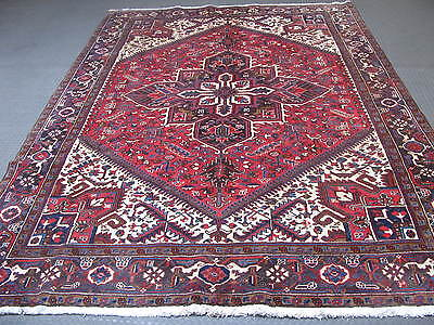 Vintage Semi Antique Persian Heriz Hand Knotted Wool Area Rug 8'-2 x 11'-1