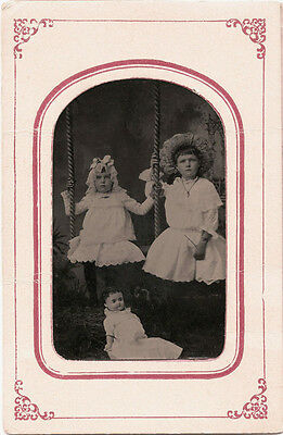 Two Charming Little Girls With Doll On Swing &  Antique Tintype Photo