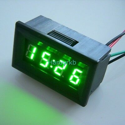 "0.30"" LED Electric Vehicle Digital Car Motorcycle Clock Watch Time 12V 24v green"