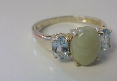 Vintage Chinese Jade  & Aquamarine Sterling Silver Ring Beautiful