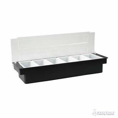 Condiment Dispenser 6 Removable Compartments Black Plastic Base with Clear Lid