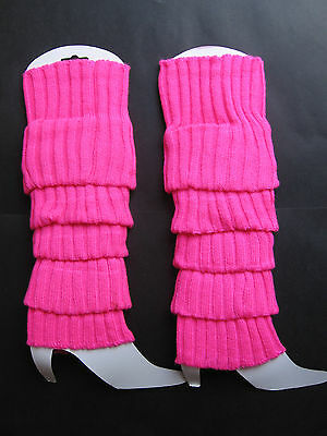 HOT PINK FAME 80s RETRO Ladies Leg Warmers Gr8 Fancy Dress Costume Accessory