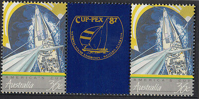 Stamps Australia Americas Cup yacht race gutter pair CUPPEX 87 overprint MUH