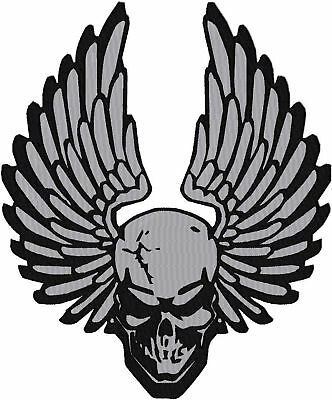 Custom Embroidered Reflective Skull Wing  Patch