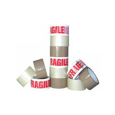 STRONG PACKING TAPE - BROWN / CLEAR / FRAGILE 48mm x 66M Rolls PARCEL TAPE