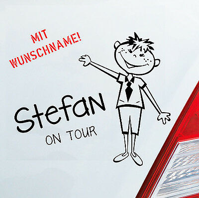 Auto Aufkleber KIND JUNGE an Bord on Tour Baby Board Kids Wunschname Sticker 311