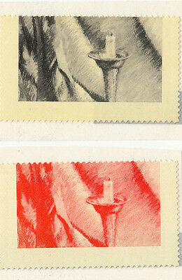 Trial counter printed stamps Australia pair red & black candle motif no literal