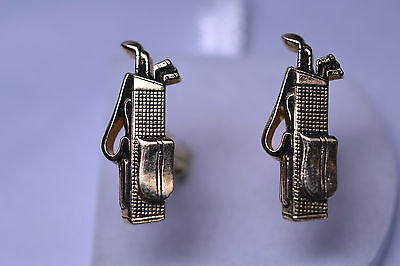 Vintage Swank Gold Plated Golf Bag With Clubs Cufflinks