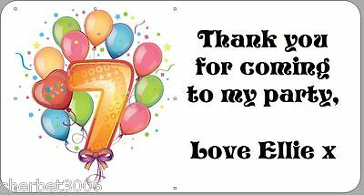 24 x Personalised Stickers 7th Birthday Balloons Party Thank You Labels Age 7
