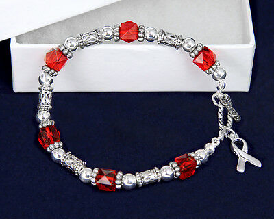 Lot of 10 Red Bead With Silver Ribbon Bracelets