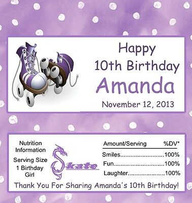 25  Purple Roller Skate Personalized Birthday Candy Bar Wrapper