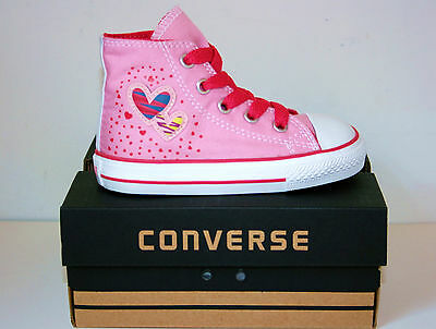 Kids Baby Girls CONVERSE All Star PINK HEARTS HIGH TOP Trainers Boots SIZE UK 5