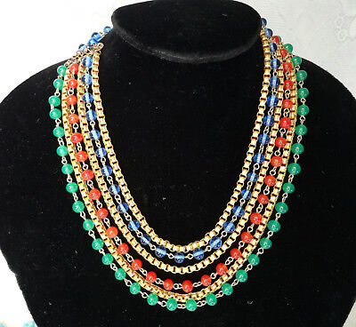 Antique Victorian CZECH Gold Green Red Blue Egyptian Revival Bib Mogul Necklace