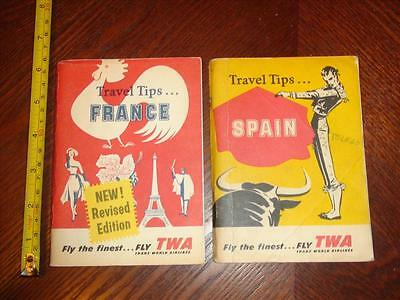 BD054 Vintage LOT of 2 TWA Travel Tip Booklets France and Spain