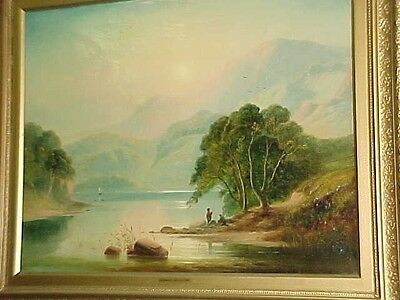 Large Mid-19th Century Oil On Canvas, Unsigned, Luminous Hudson River Style Work