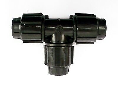 PIPE EQUAL TEE Compression 20, 25, 32, 40, 50mm hose connector joiner MDPE water