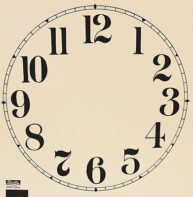 New 11-12 Inch Ivory Paper Clock Dial - Choose Arabic or Roman Numbers!