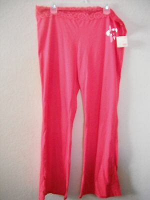 NEW juniors ladies PAJAMA PANTS sleep LOUNGE pink silver STAR  lace COTTON XL