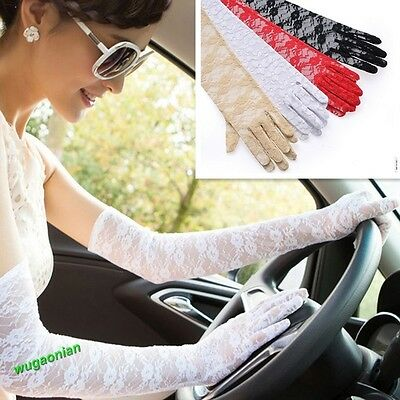 Lady's Lace Sun Block UV Protection Long Opera Evening Bridal Driving Gloves