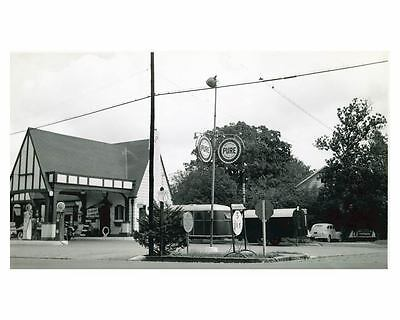 1941 Pure Oil Gas Station Factory Photo Raleigh NC Gas Globe Tiolene ch2445