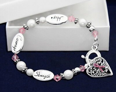 Lot of 12 Hope Strength Courage Pink Ribbon Breast Cancer Awareness Bracelets