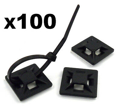 100x Large Self Adhesive Stick-on Mounts for Cable Ties / Routing Looms & Cables