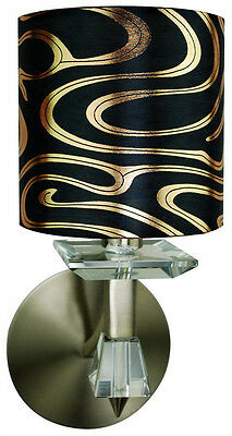Antique Brass Wall Sconce With Crystal Accents And Shade