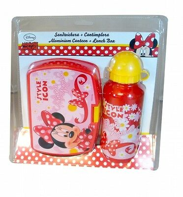 Disney Minnie Mouse 'Style Icon' School Sandwich Box And Aluminium Bottle Lunch