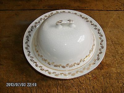 antique Knowles KT&K gold trim ironstone butter dish w/ lid & inside tray