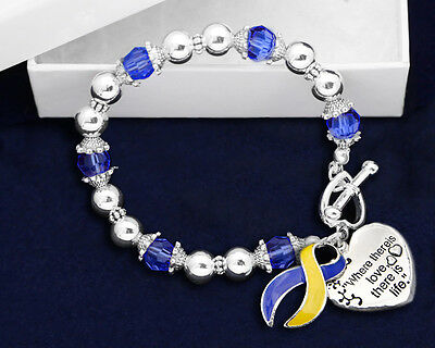 Lot of 12 Where There is Love Blue & Yellow Ribbon Bracelets