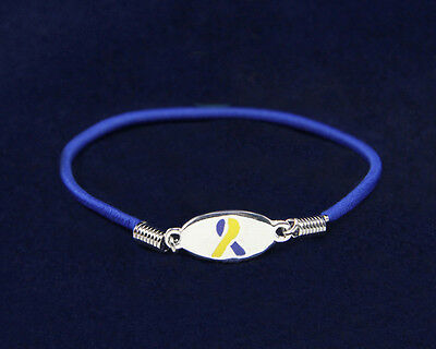 Lot of 25 Blue & Yellow Stretch Charm Bracelets