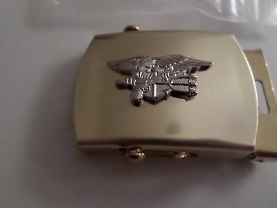 U.s Navy Seals Silver Insignia Solid Brass Belt Buckle Made In The U.s.a